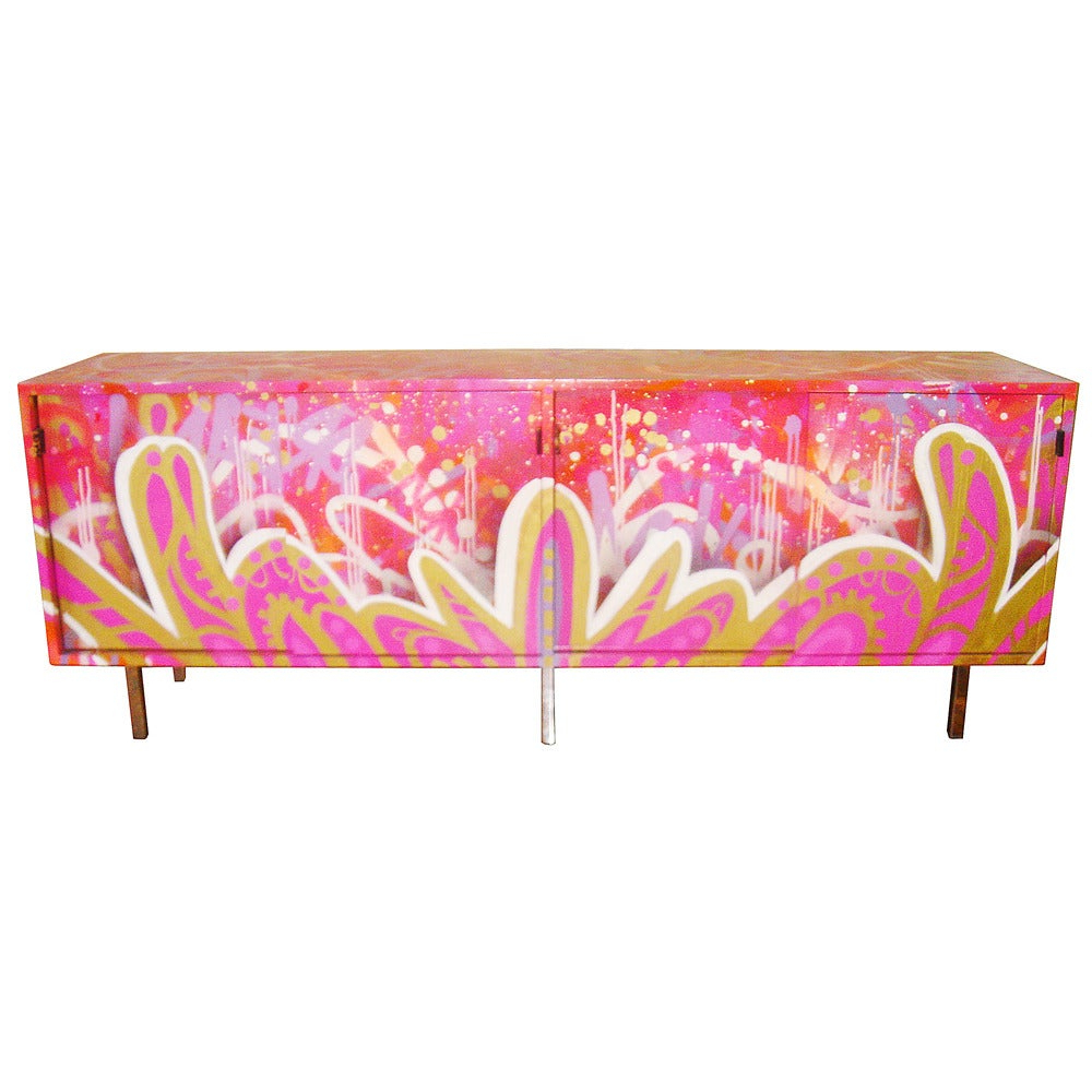 Vintage Florence Knoll Credenza With Graffiti Reimagined With Retro Holistic Credenzas (Gallery 11 of 20)
