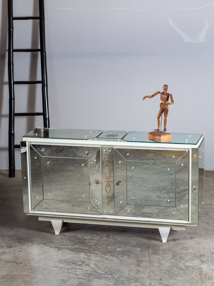 Vintage French Mirrored Two Door Buffet Credenza Circa 1940 Intended For Mirrored Double Door Buffets (View 20 of 20)