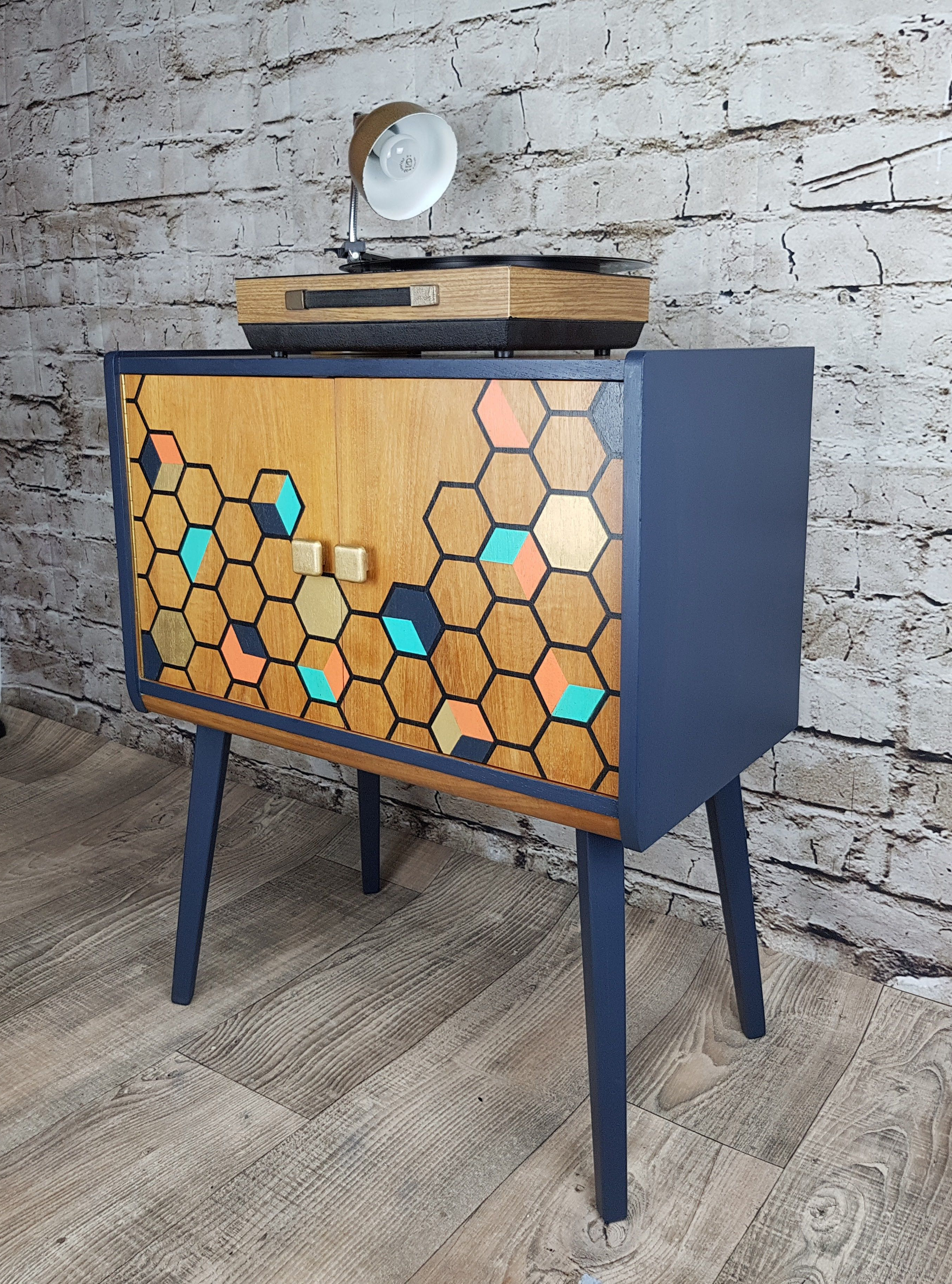 Vintage Record Cabinet Upcycled With Fusion Mineral Paint Pertaining To Exagonal Geometry Credenzas (View 9 of 20)