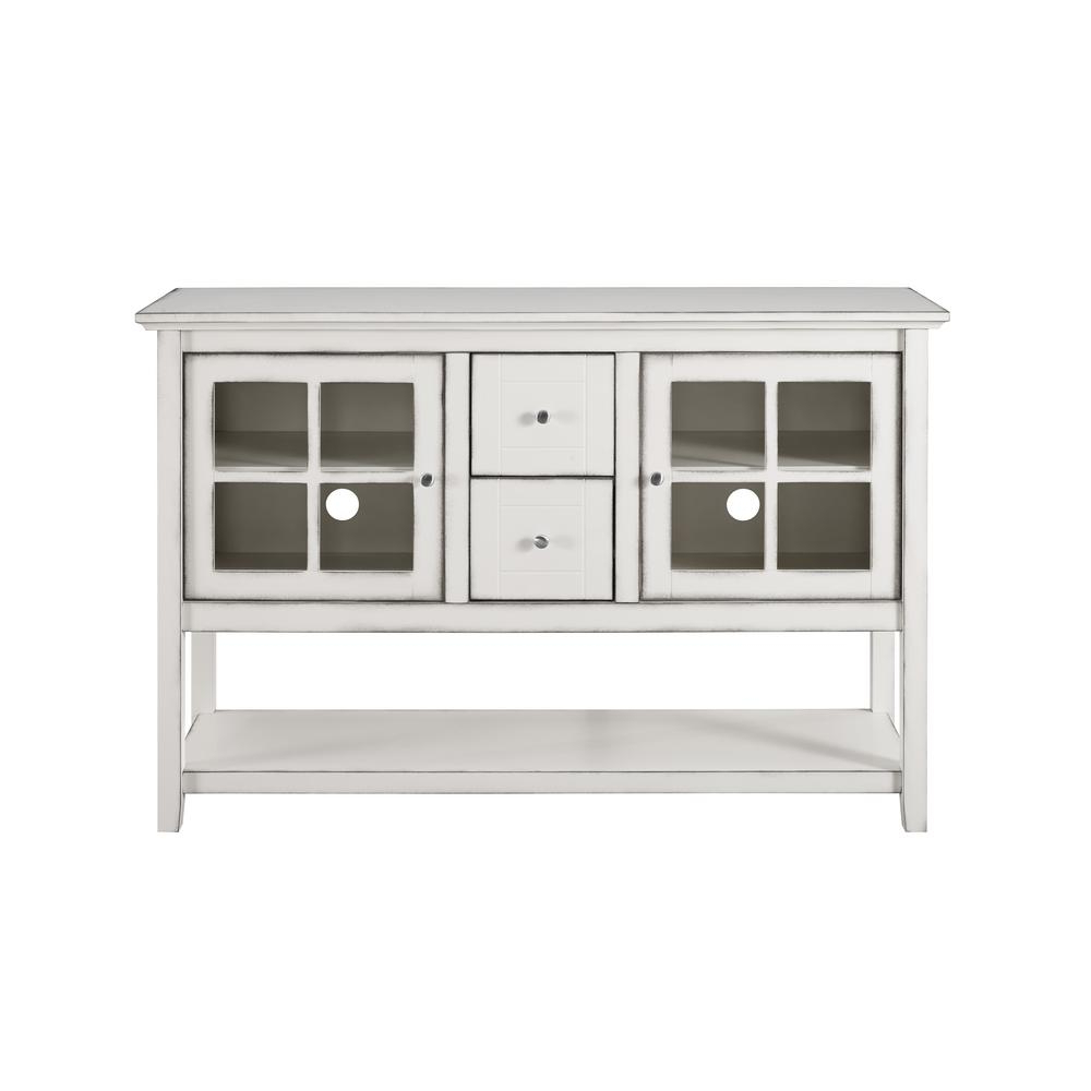 """Walker Edison Furniture Company 52"""" Transitional Wood And For White Geometric Buffets (View 11 of 20)"""