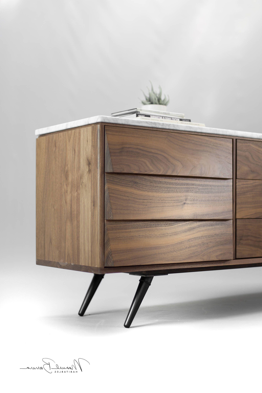 Walnut And Marble Sideboardmanuel Barrera | Credenza In Regarding Light White Oak Two Tone Modern Buffets (View 20 of 20)