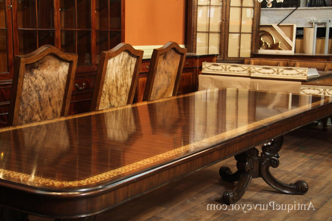 Walnut Inlaid Double Pedestal Dining Table (View 14 of 20)