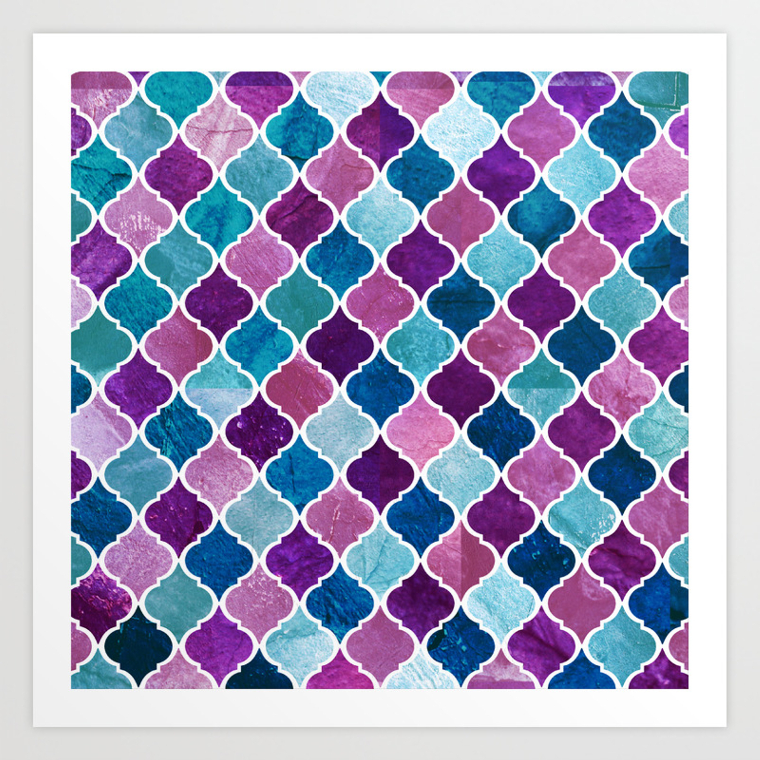 Watercolor Purple And Blue Trellis Pattern Art Print Within Bluetrellis Credenzas (View 12 of 20)