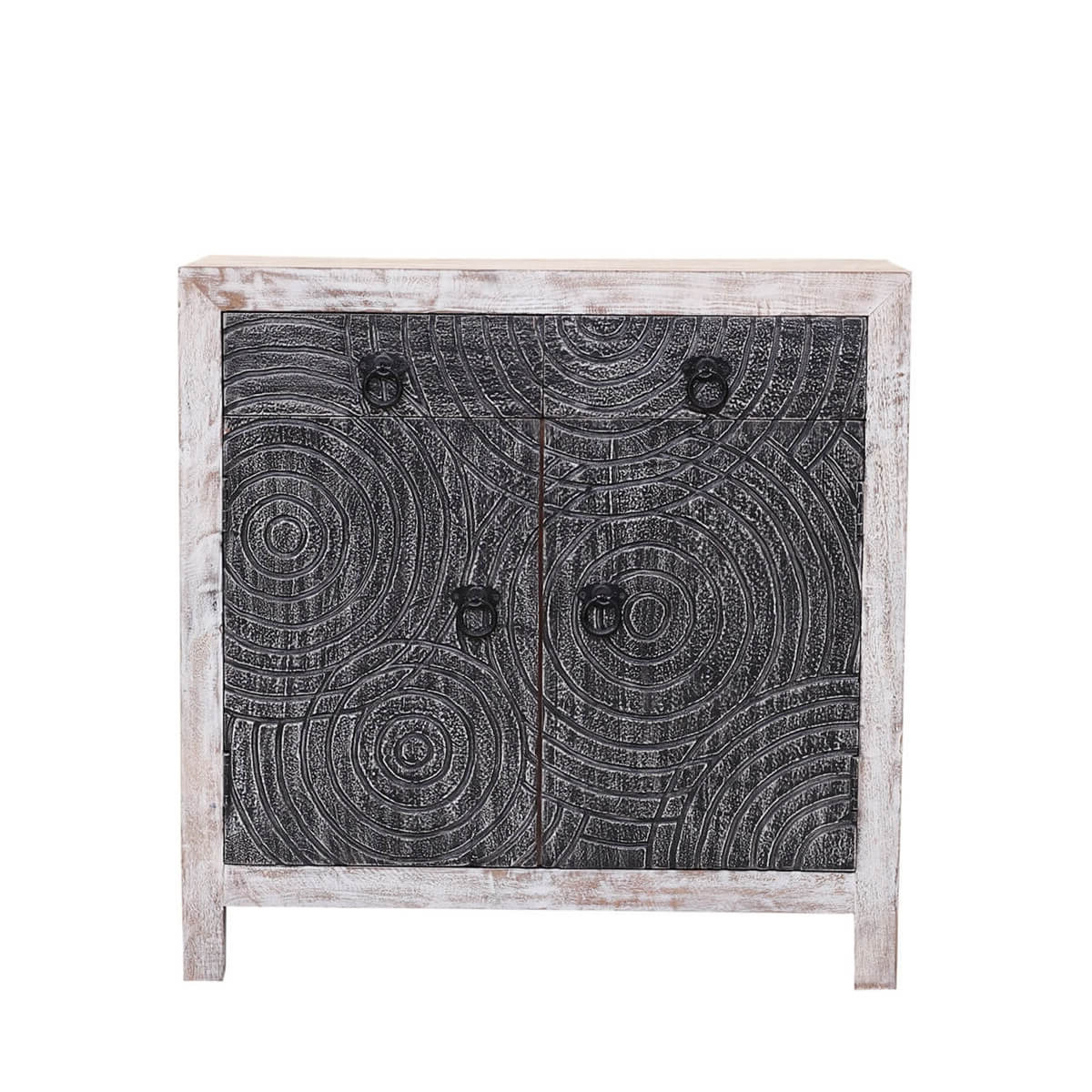 Waynesfield Mandala Reclaimed Wood 2 Drawer Rustic Buffet Cabinet For Rustic Black 2 Drawer Buffets (View 20 of 20)