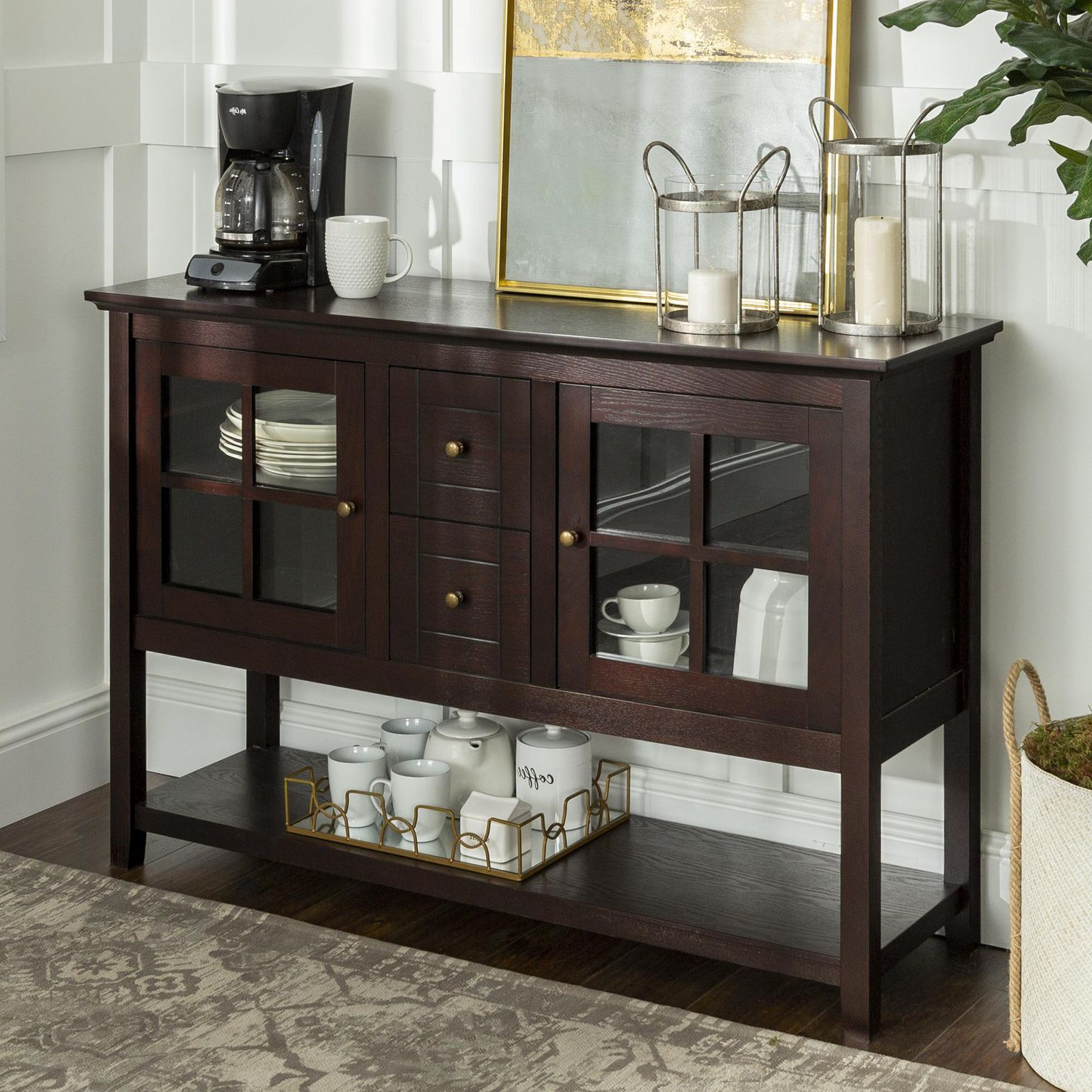 We Furniture Walker Edison Espresso Wood Console Table Buffet Tv Stand Within Espresso Wood Multi Use Buffets (View 20 of 20)