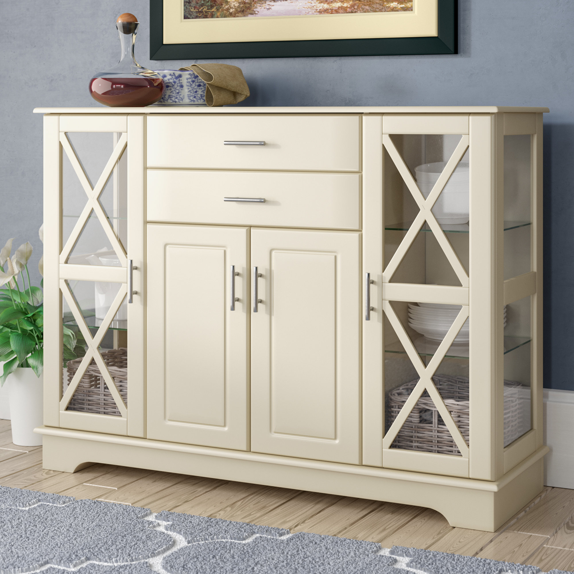 Weathered Gray Buffet You'll Love In 2019   Wayfair Regarding Contemporary Three Tier Glass Buffets With Black Metal Frame (View 20 of 20)