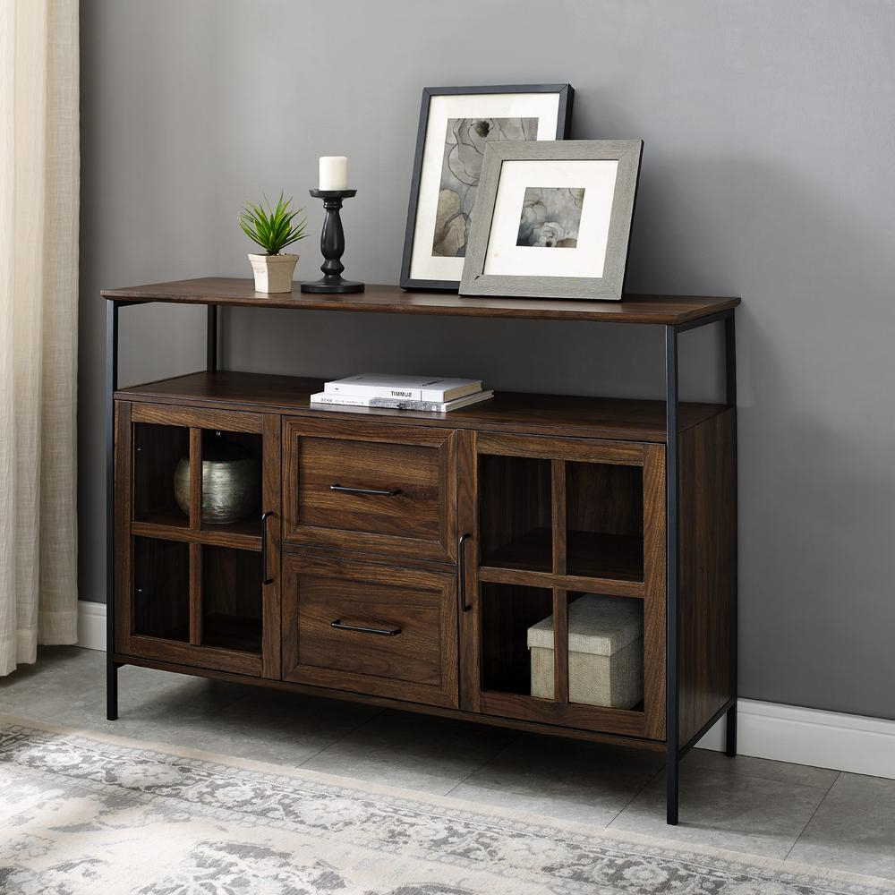 Welwick Designs Industrial Dark Walnut 3 Door Buffet Hd8190 Within Industrial Style 3 Drawer Buffets (View 15 of 20)