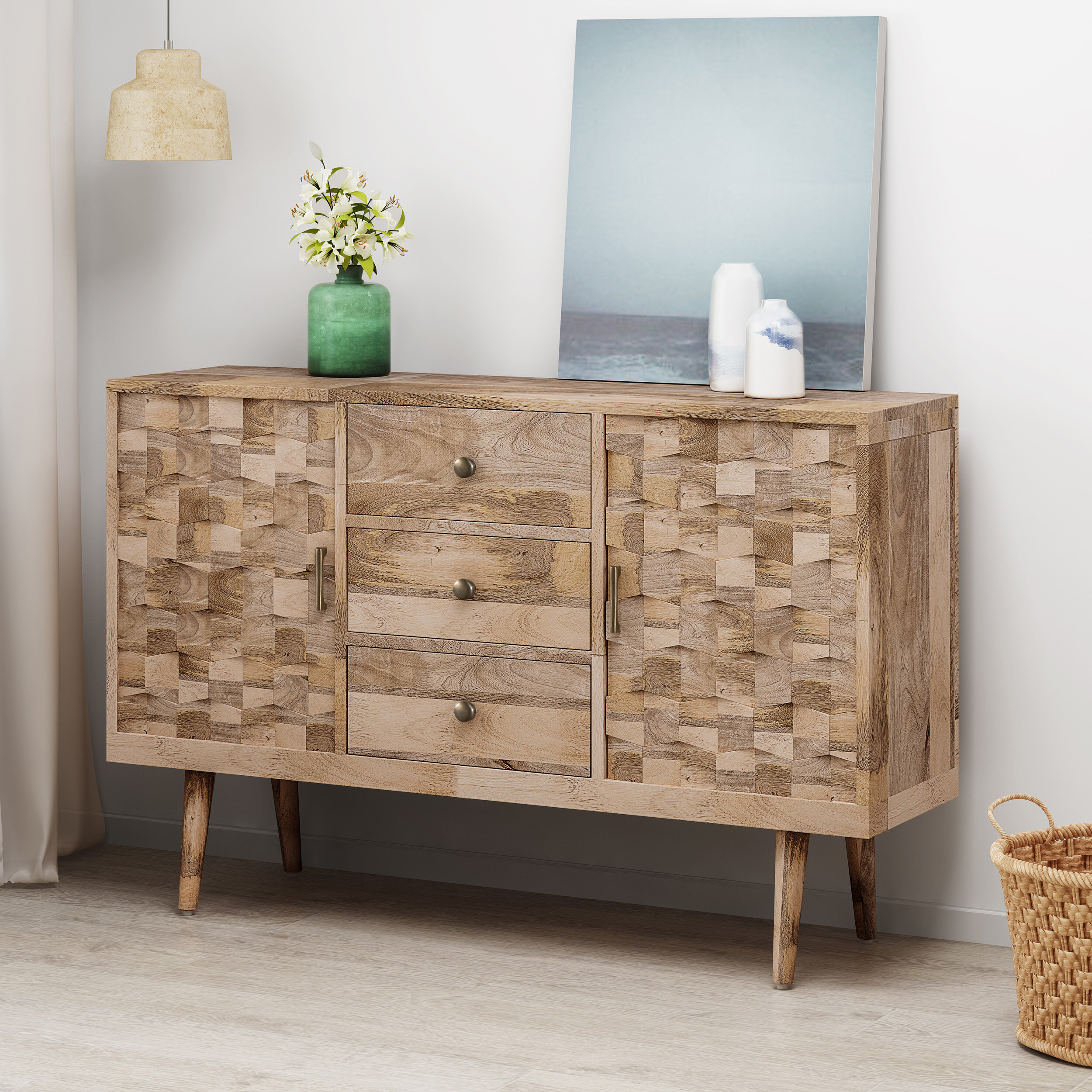 Westra Mid Century Modern Mango Wood 3 Drawer Sideboard Within Mid Century 3 Cabinet Buffets (View 20 of 20)