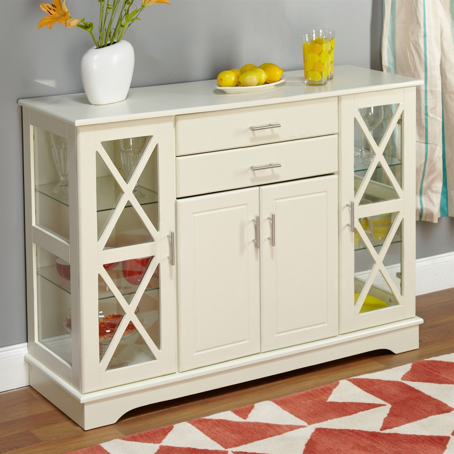 White Wood Buffet Sideboard Cabinet With Glass Display Doors Intended For Simple Living Antique White Kendall Buffets (View 4 of 20)