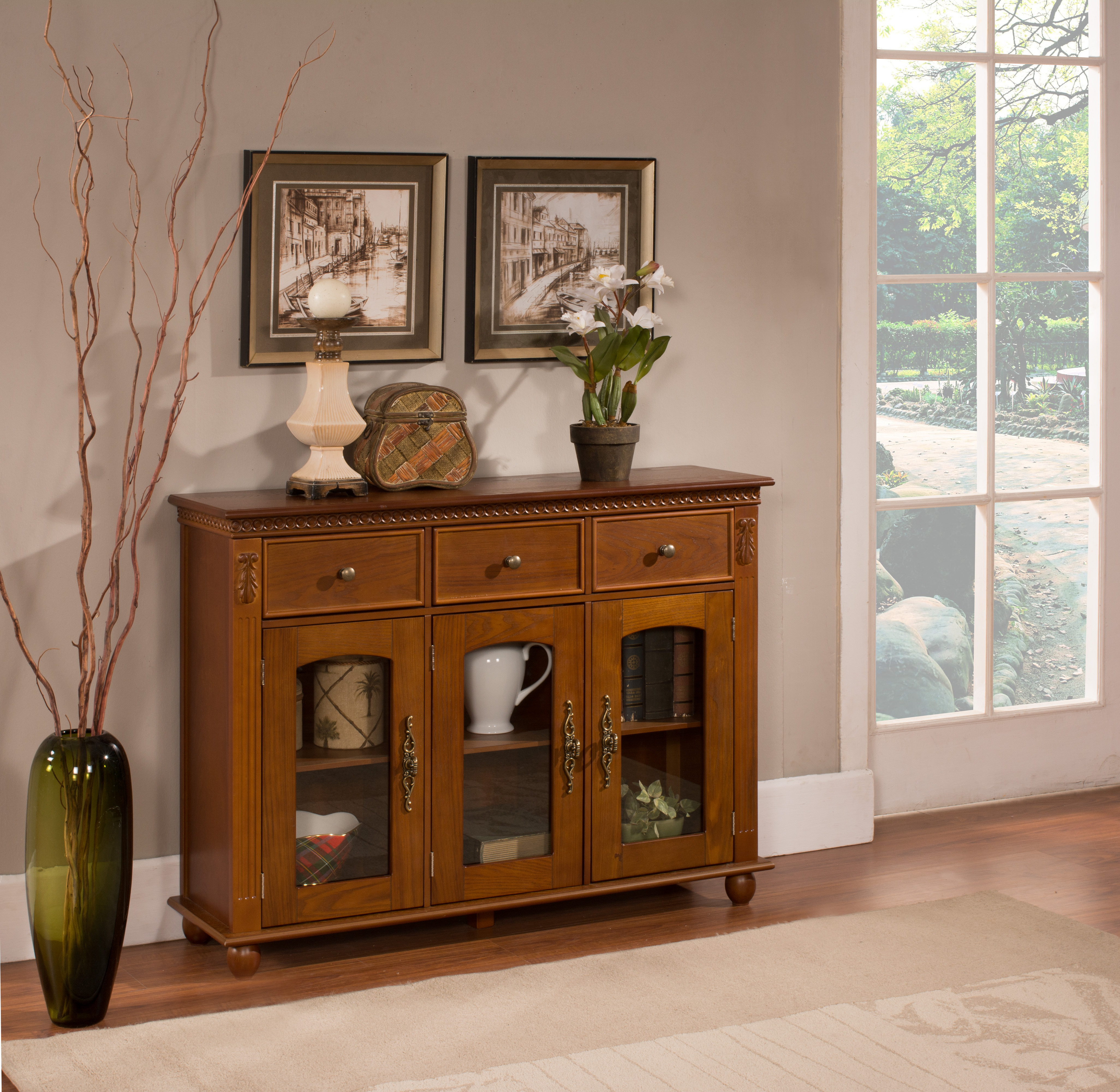 William Walnut Wood Contemporary Sideboard Buffet Console Within Contemporary Wooden Buffets With One Side Door Storage Cabinets And Two Drawers (View 19 of 20)