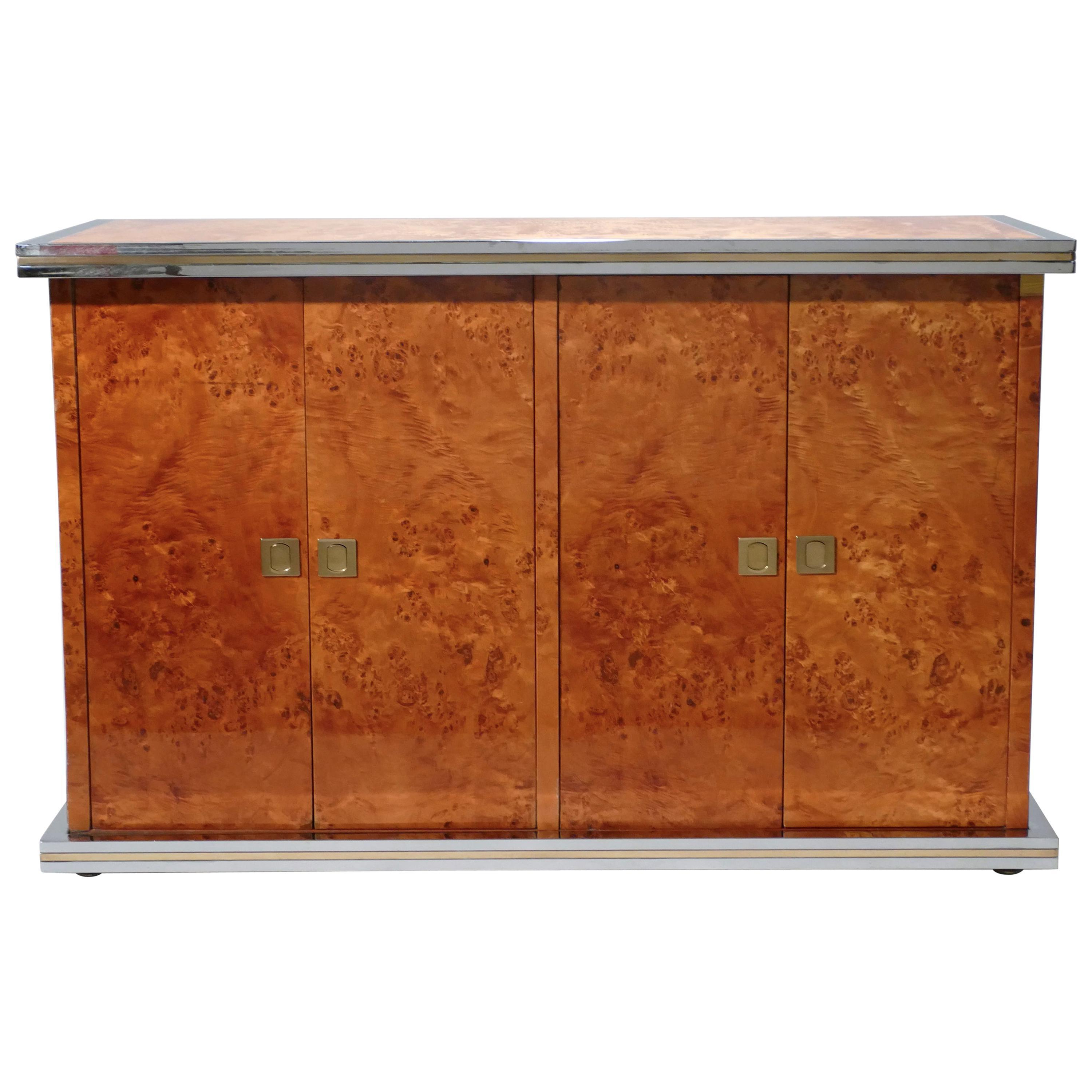 Willy Rizzo Burl Chrome And Brass Small Credenza, 1970s Within Symmetric Blue Swirl Credenzas (View 14 of 20)