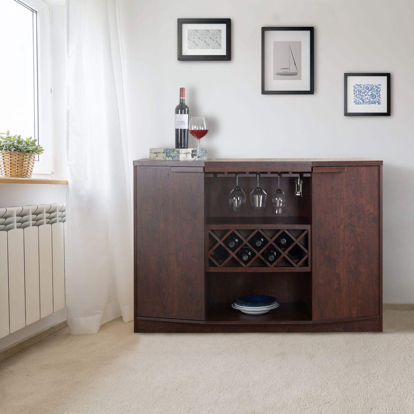 Wine Bar Buffet Cabinet Bottle Rack Wood Storage Hutch Furniture Walnut  Brown With Simple Living Layla Black Buffets (View 20 of 20)
