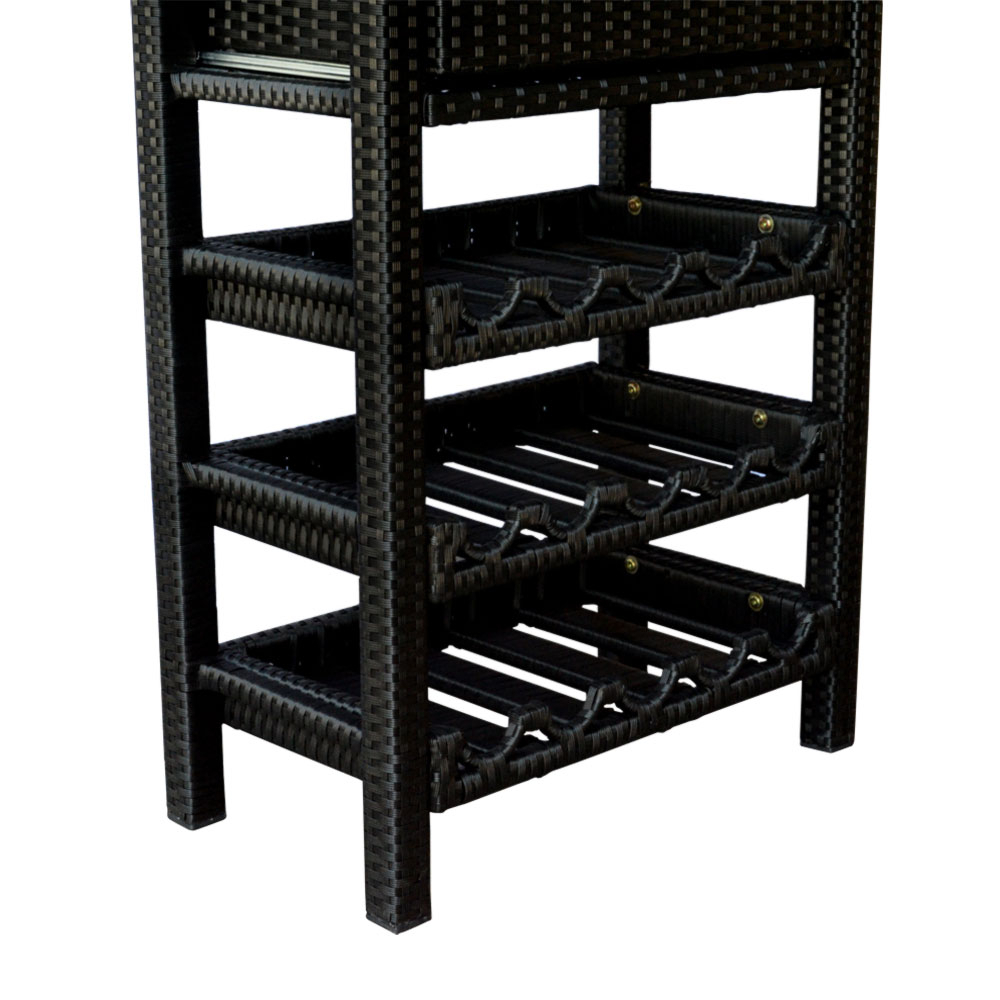 Wine Bar Wicker Rack 15 Bottle Holder Liquor Shelves Buffet Cabinet Home  Decor Furniture Display Kitchen Storage Glass Top Regarding Buffets With Bottle And Glass Storage (View 15 of 20)