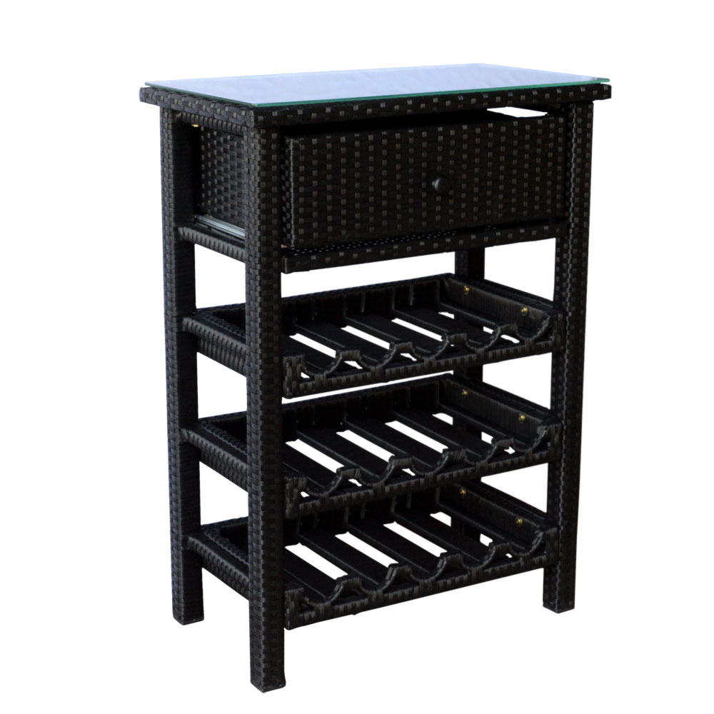 Wine Bar Wicker Rack 15 Bottle Holder Liquor Shelves Buffet Cabinet Home  Decor Furniture Display Kitchen Storage Glass Top With Buffets With Bottle And Glass Storage (View 16 of 20)