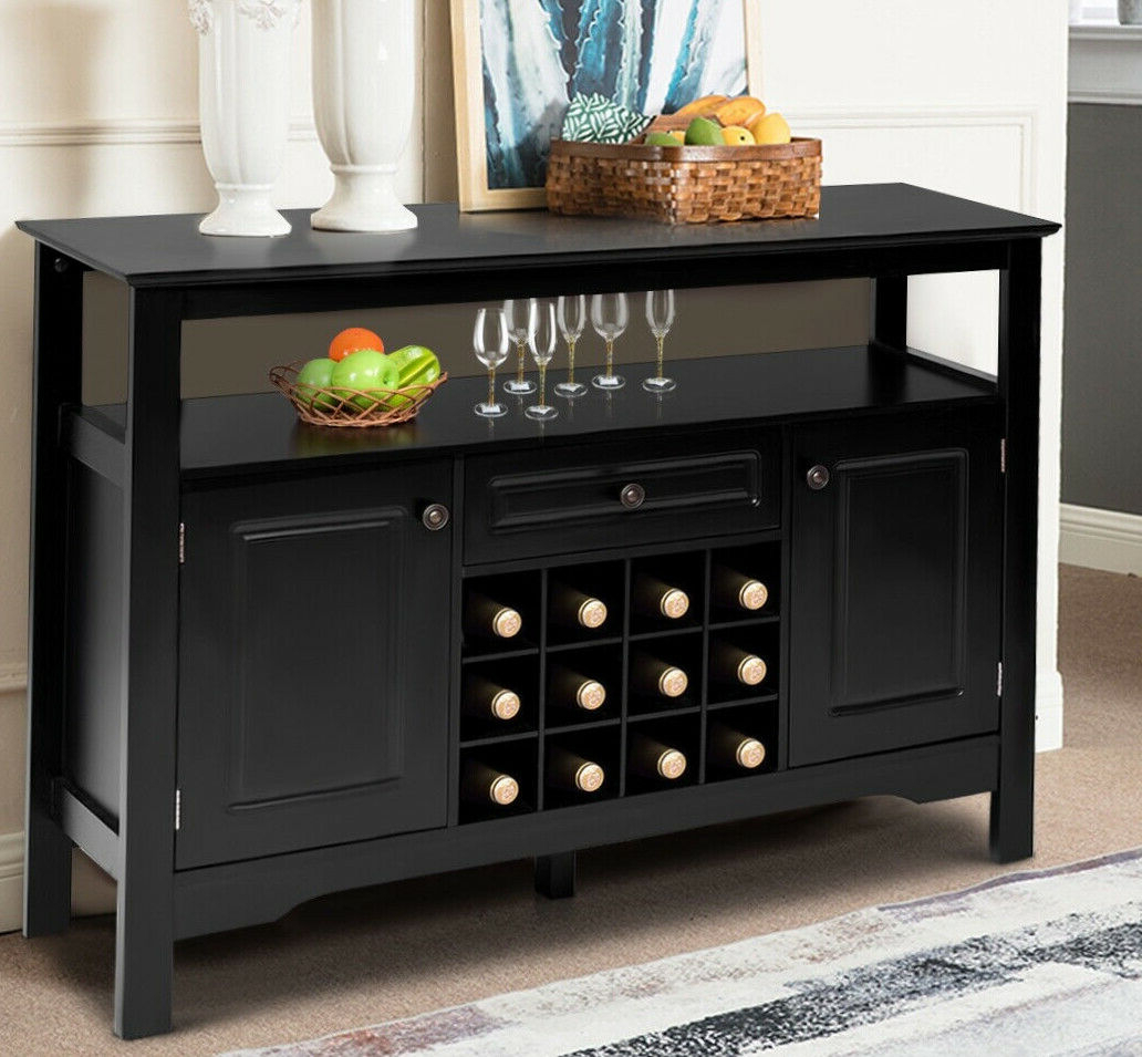 Wine Cabinet Home Bar Black Wood Bottle Rack Liquor Storage Holder Buffet  Table Intended For Buffets With Bottle And Glass Storage (View 18 of 20)
