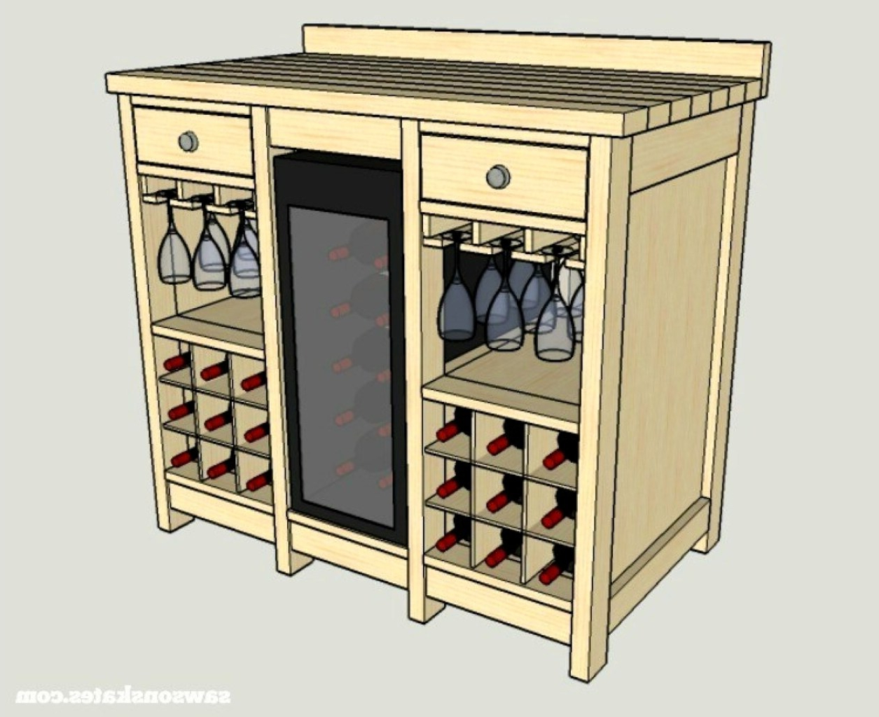 Wine Credenza With Refrigerator – Clashroyale (View 9 of 20)