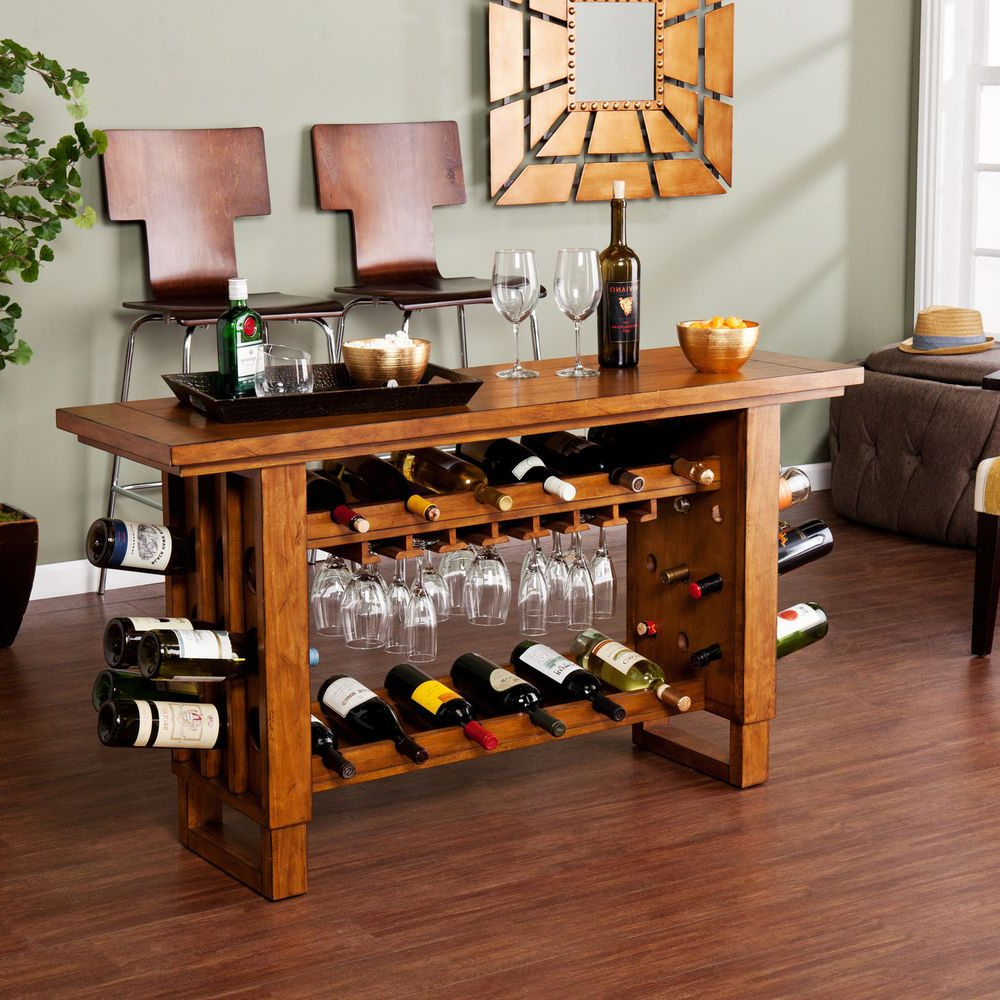 Wine Rack Table Console Bottle Holder Bar Storage Display Intended For Buffets With Bottle And Glass Storage (View 15 of 20)