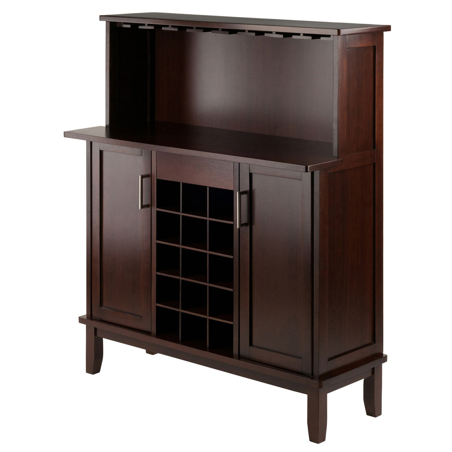 Winsome Beynac Buffet Cabinet With Bar Counter Top With Solid And Composite Wood Buffets In Cappuccino Finish (View 5 of 20)