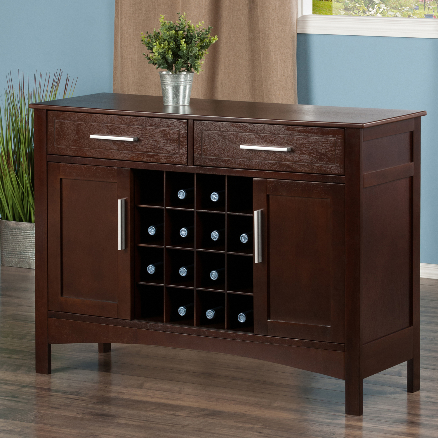 Winsome Wood Gordon Buffet Cabinet/ Sideboard, Cappuccino Finish With Regard To Cappuccino Finished Buffets (View 7 of 20)