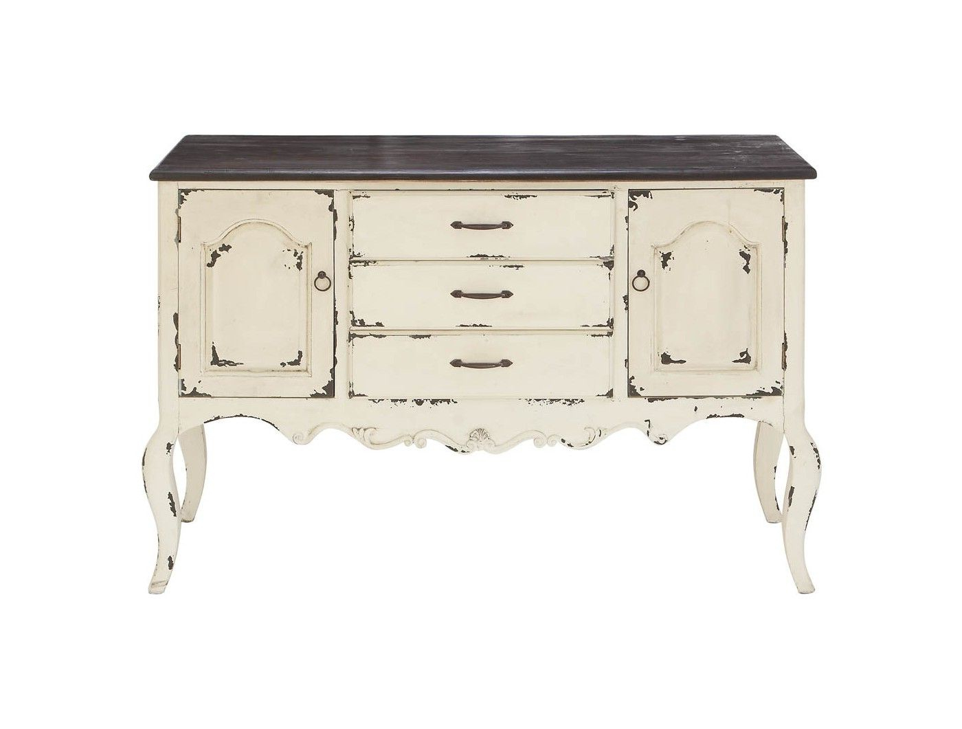 Wood 2 Doors 3 Drawers Buffet White/brown – Olivia & May Pertaining To Industrial Style 3 Drawer Buffets (View 12 of 20)