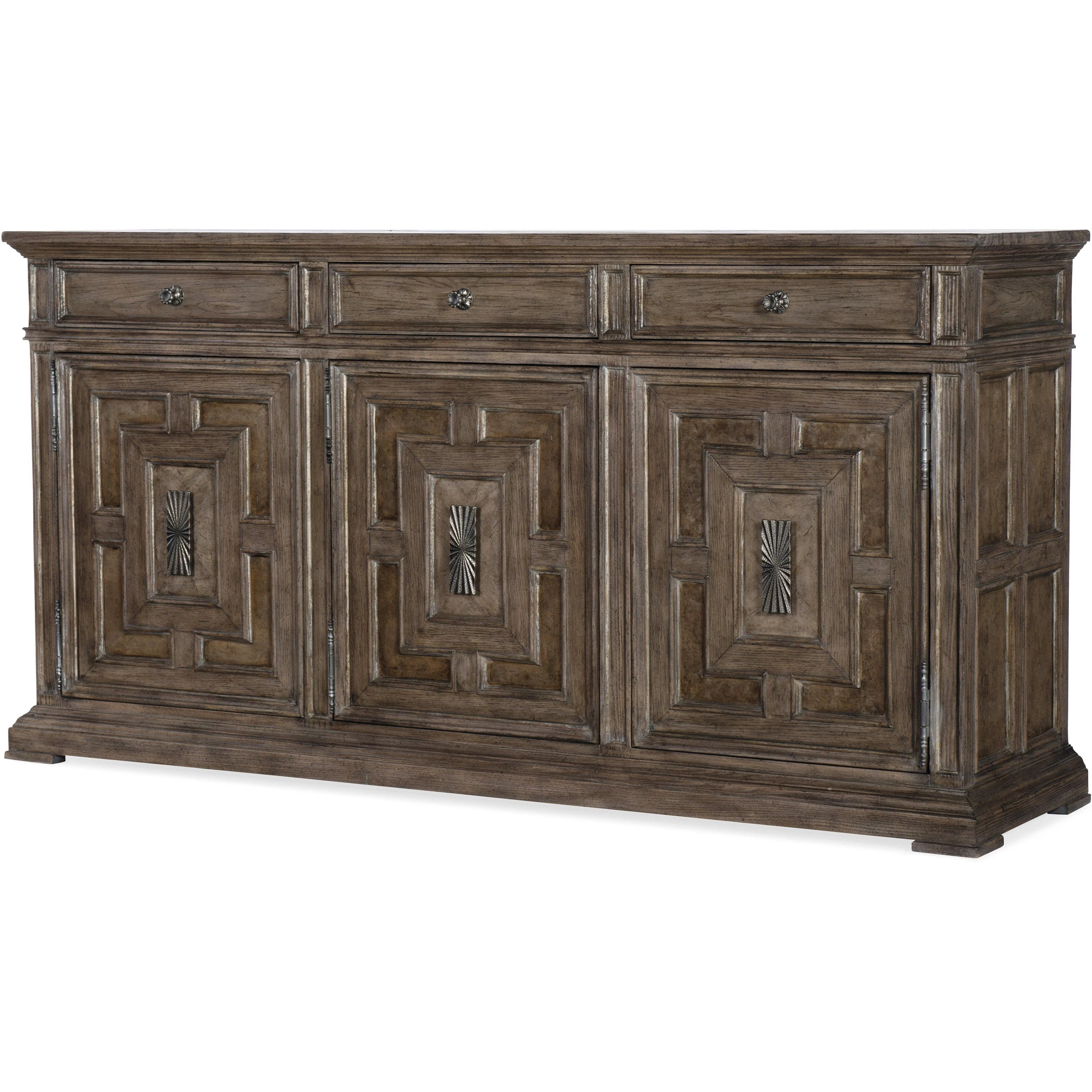 Woodlands Traditional 3 Door And 3 Drawer Buffethooker Furniture At  Dunk & Bright Furniture Within 3 Drawer Storage Buffets (View 20 of 20)