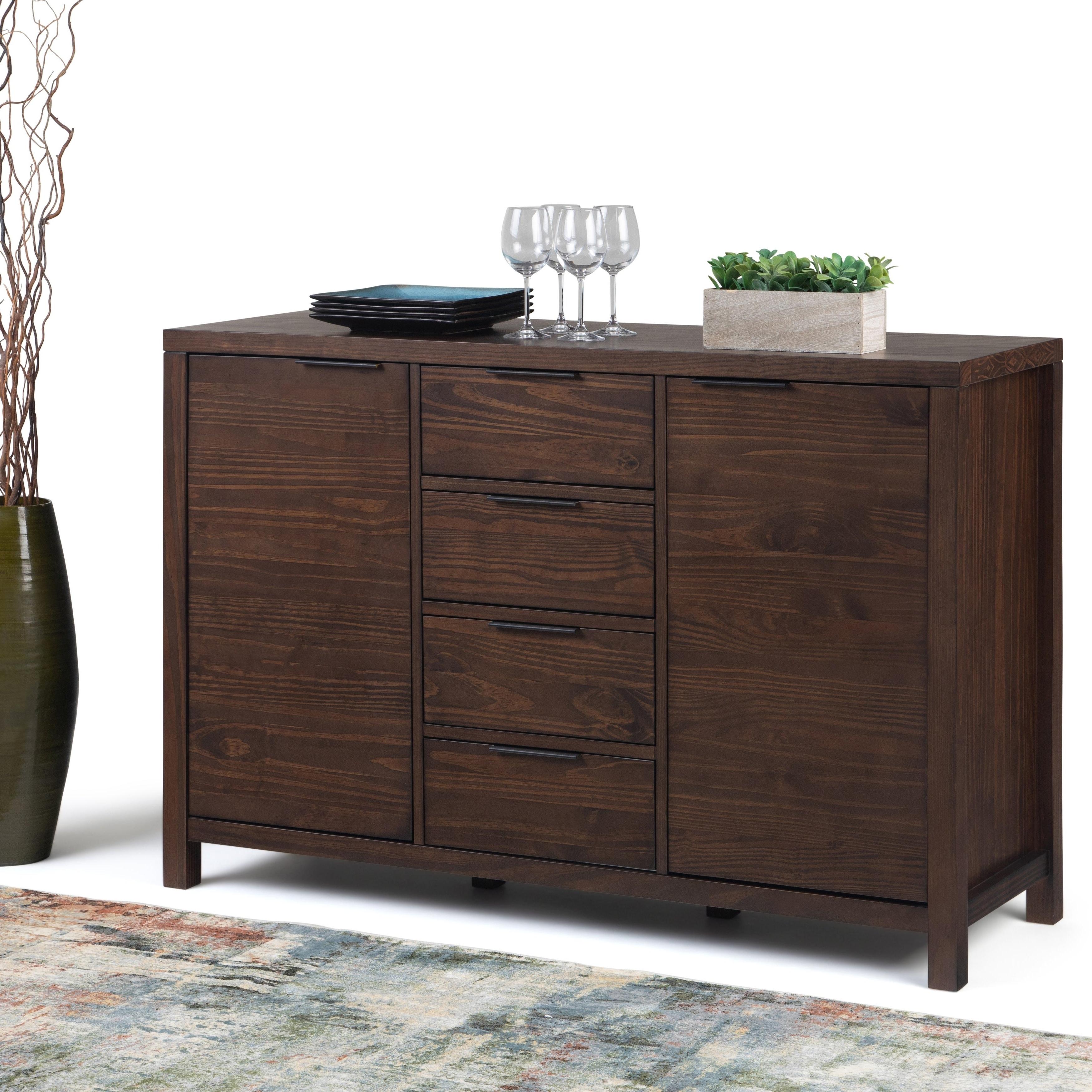 Wyndenhall Fabian Solid Wood 54 Inch Wide Contemporary Modern Sideboard Buffet In Warm Walnut Brown With Strick & Bolton Dallas Walnut Buffets (View 8 of 20)