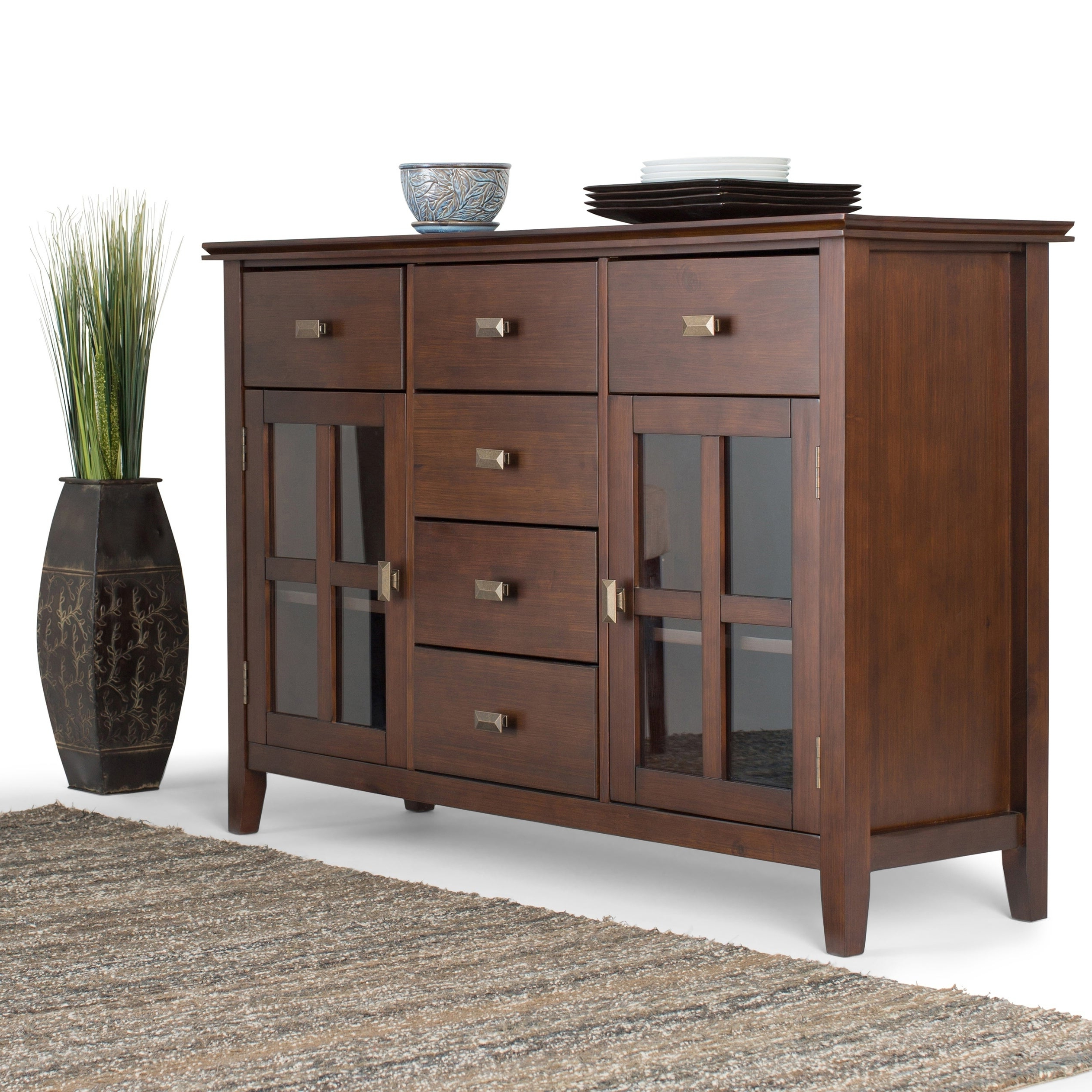 Wyndenhall Stratford Solid Wood 54 Inch Wide Contemporary Sideboard Buffet  Credenza – 54 Inch Wide Throughout Contemporary Wooden Buffets With One Side Door Storage Cabinets And Two Drawers (View 20 of 20)