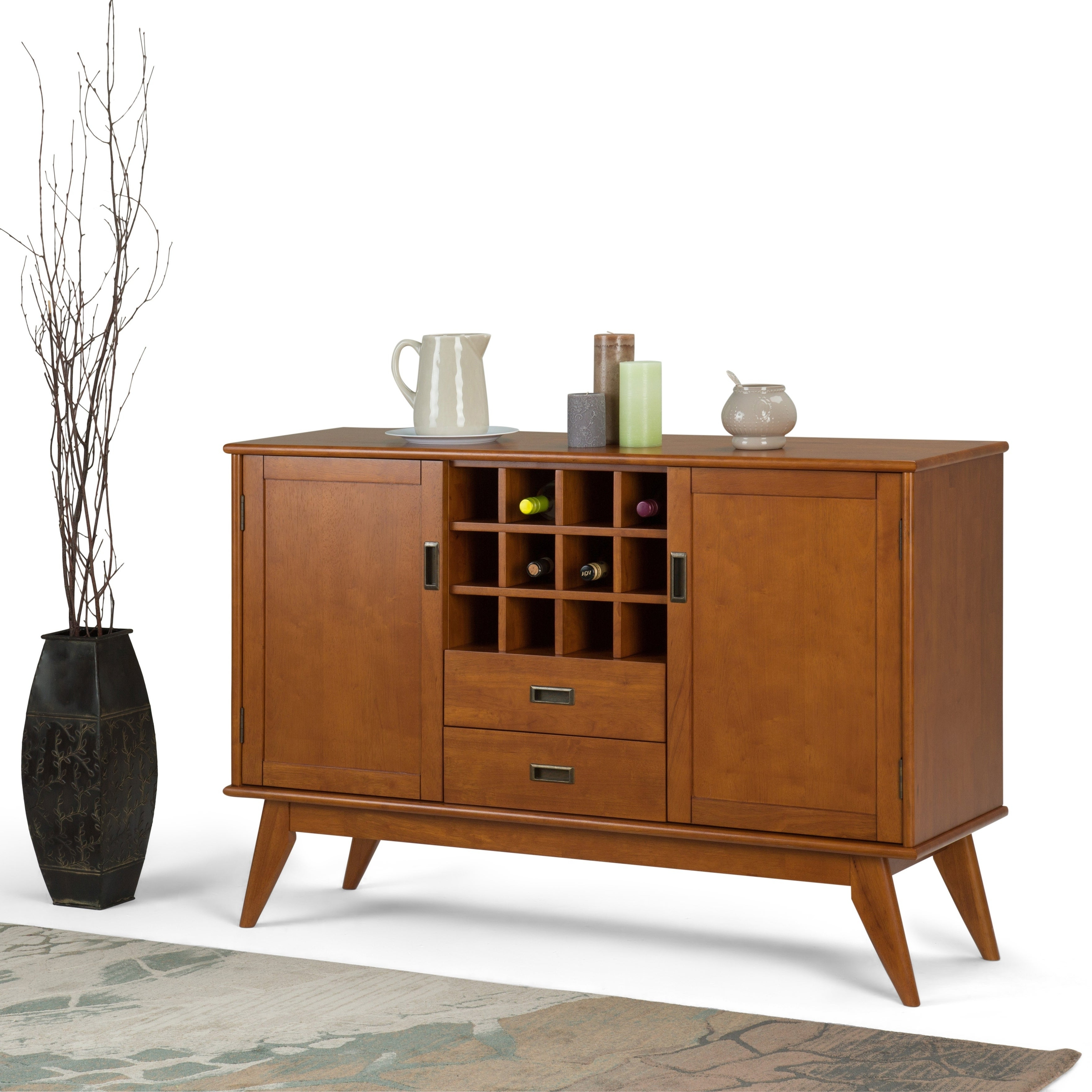 Wyndenhall Tierney Solid Hardwood 54 Inch Wide Mid Century Modern Sideboard  Buffet And Winerack With Mid Century Retro Modern Oak And Espresso Wood Buffets (View 20 of 20)