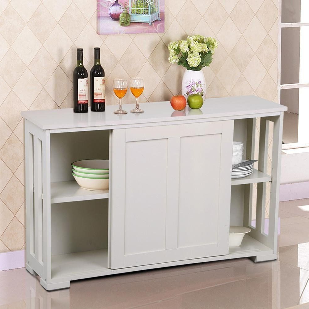 Yaheetech Antique White Sliding Door Buffet Sideboard With Espresso Sliding Door Stackable Buffets (View 20 of 20)