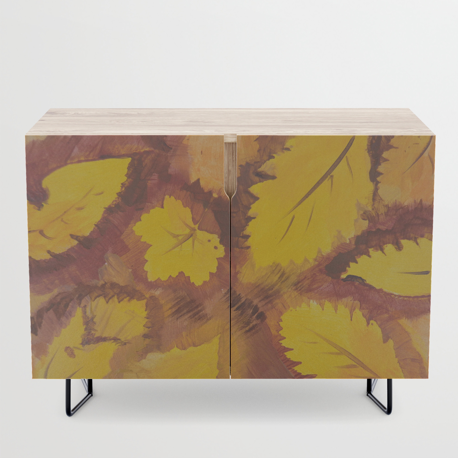 Yellow Autumn Leaf And A Red Pear Painting Fall Pattern Inspirednature  Colors Credenza Regarding Colorful Leaves Credenzas (View 20 of 20)