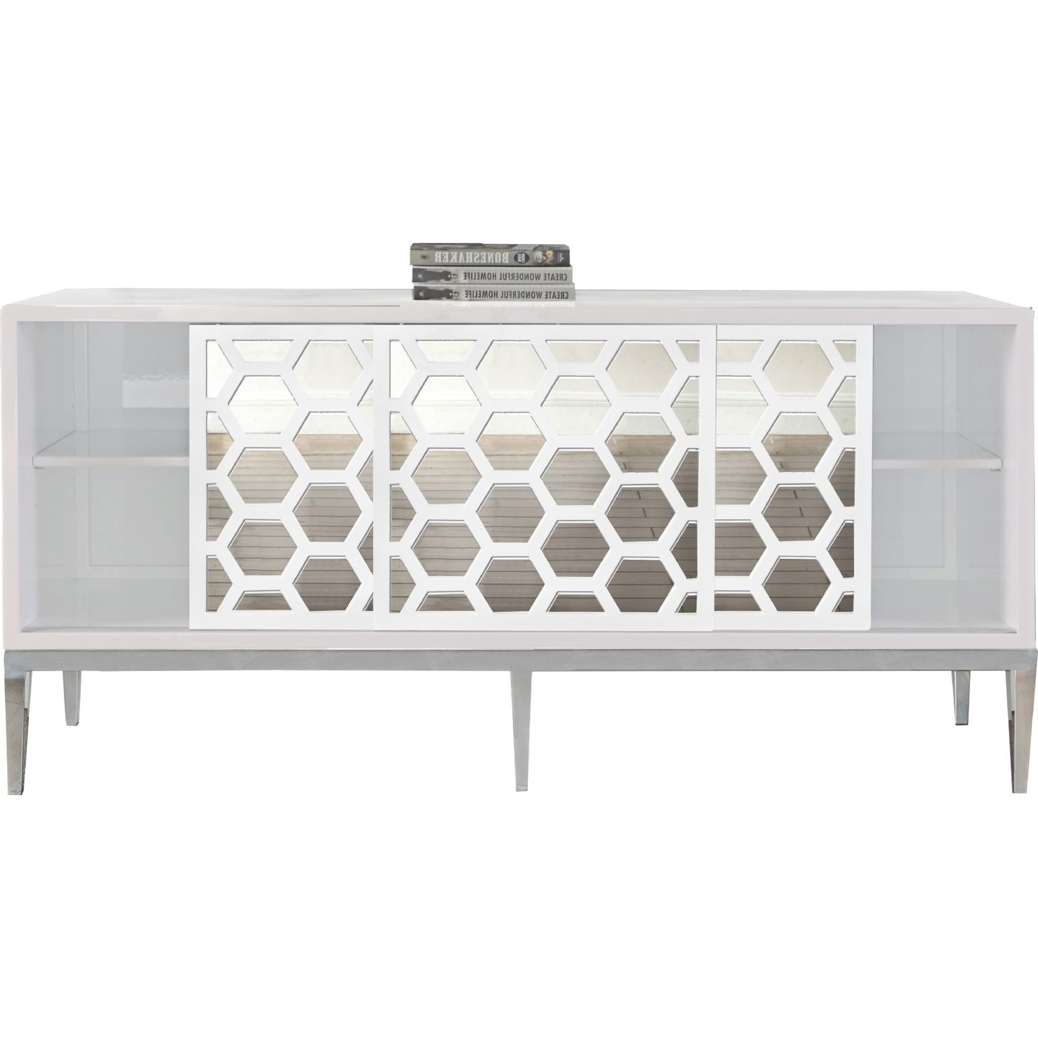 Zoey Sideboard / Buffet In White Lacquer & Mirror On Chrome Intended For White Geometric Buffets (View 10 of 20)