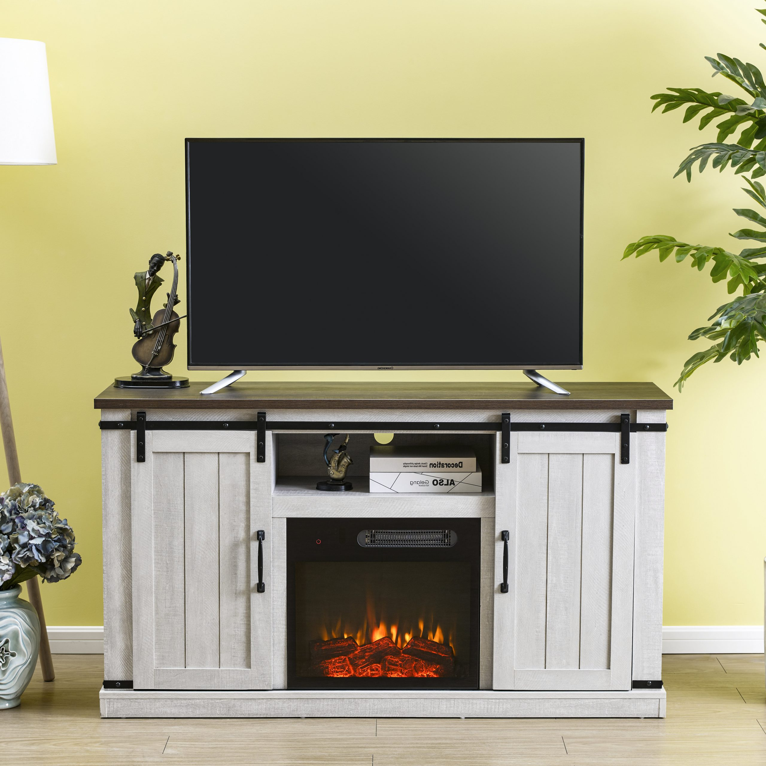"""Canyonlands Tv Stand For Tvs Up To 60"""" With Electricfireplace Included Within Eutropios Tv Stand With Electric Fireplace Included (View 3 of 20)"""