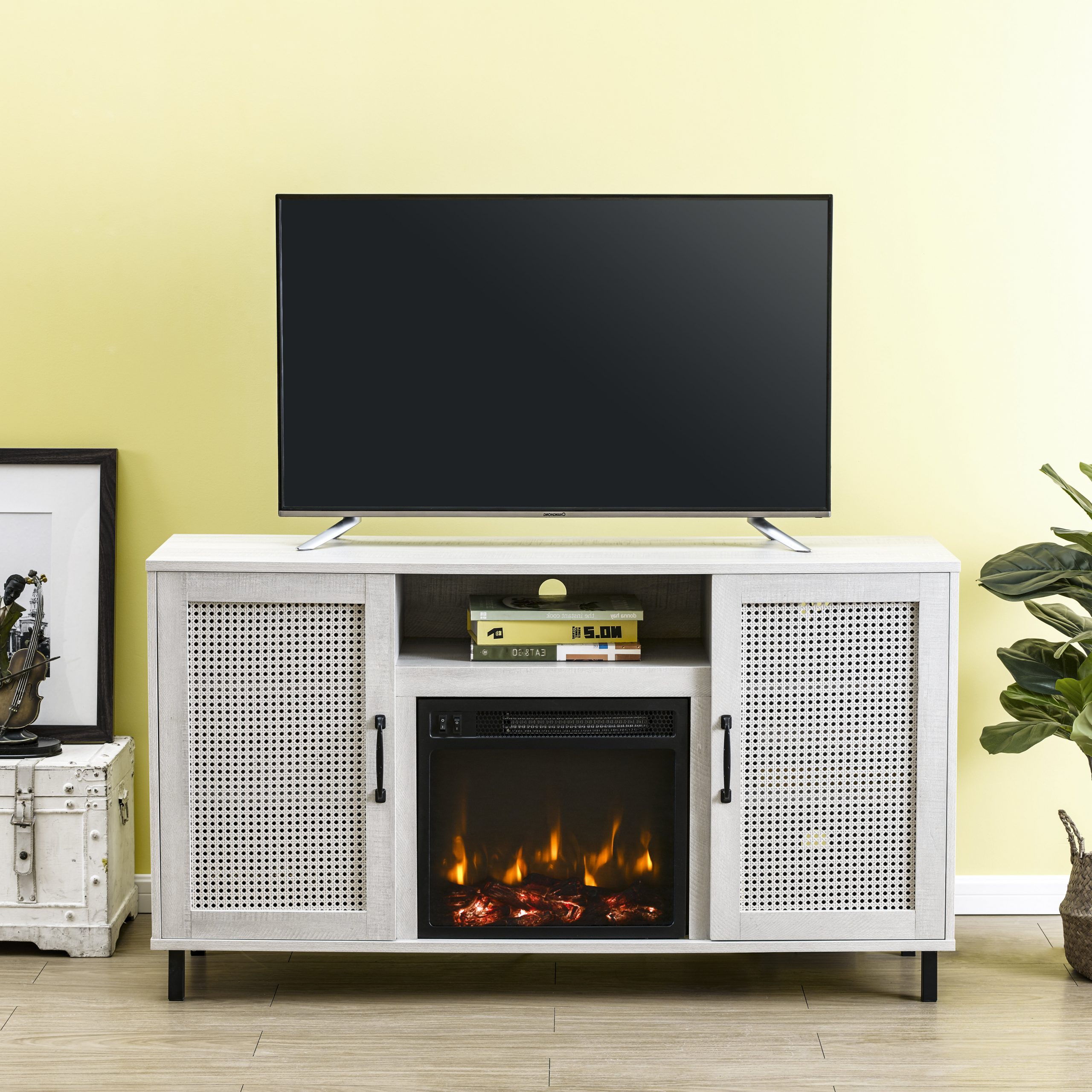 """Earlham Tv Stand For Tvs Up To 60"""" With Electric Fireplace Included For Eutropios Tv Stand With Electric Fireplace Included (View 11 of 20)"""