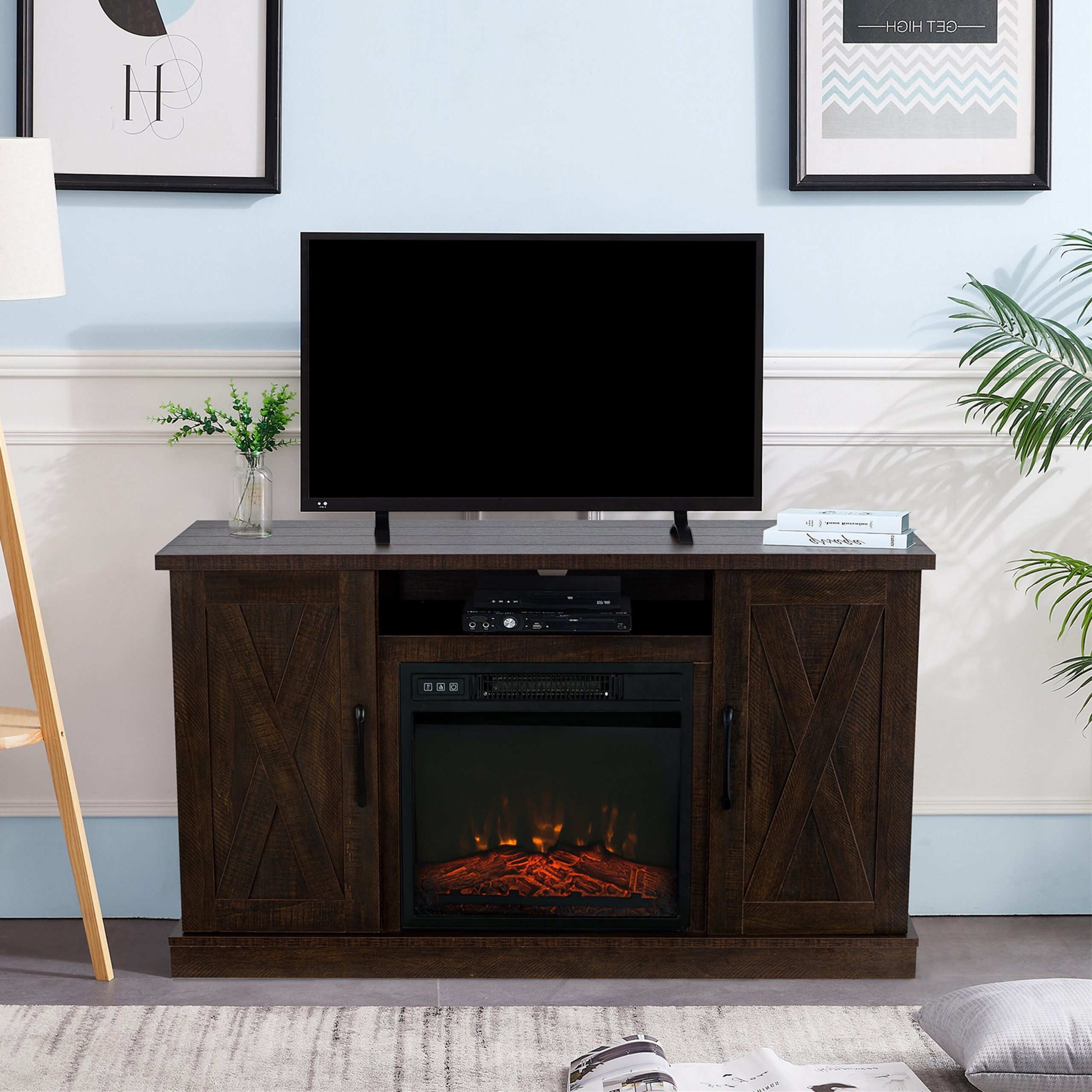 """Eutropios Tv Stand For Tvs Up To 65"""" With Electric Fireplace Included Intended For Eutropios Tv Stand With Electric Fireplace Included (View 2 of 20)"""