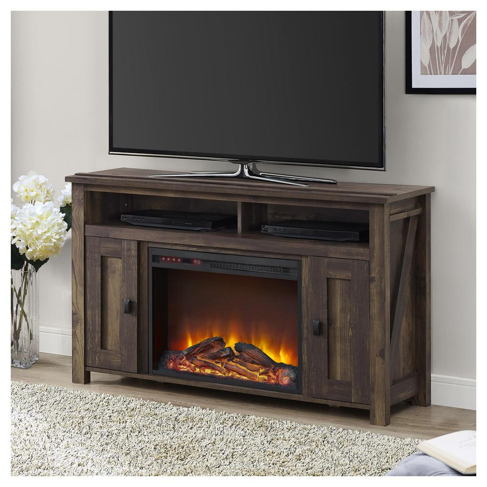 Farmington Heritage Pine Fire Place Entertainment Center, Brown – Home Depot Intended For Eutropios Tv Stand With Electric Fireplace Included (View 6 of 20)