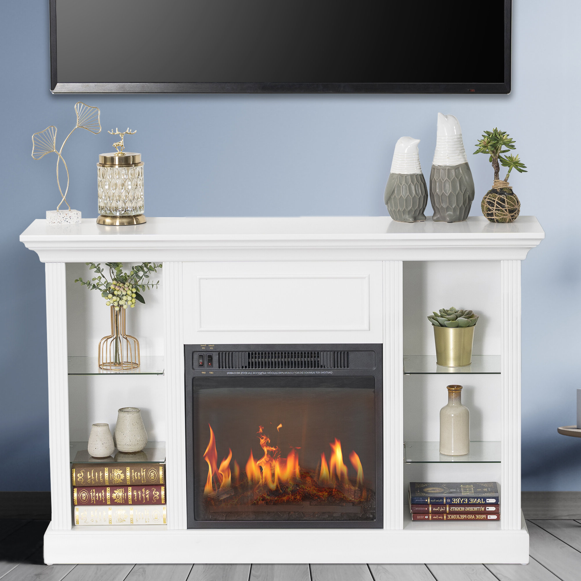 """Francisville Tv Stand For Tvs Up To 55"""" With Electric Fireplace Included For Eutropios Tv Stand With Electric Fireplace Included (View 4 of 20)"""
