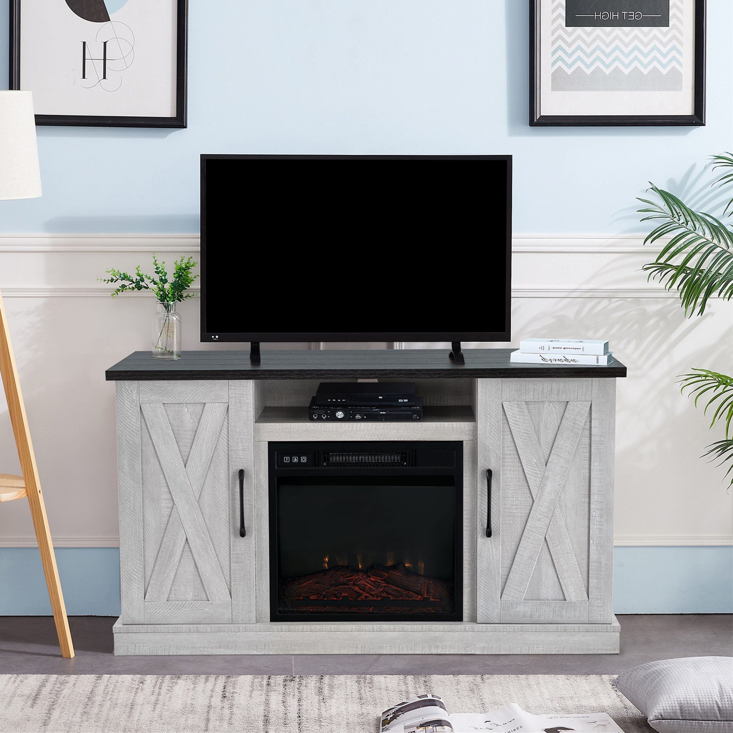 Featured Photo of Eutropios Tv Stand With Electric Fireplace Included