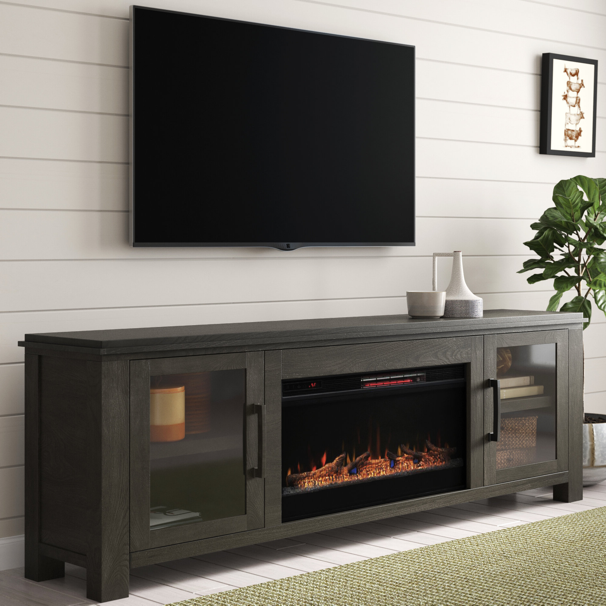 Gracie Oaks Tv Stands & Entertainment Centers You'll Love In Regarding Eutropios Tv Stand With Electric Fireplace Included (View 5 of 20)