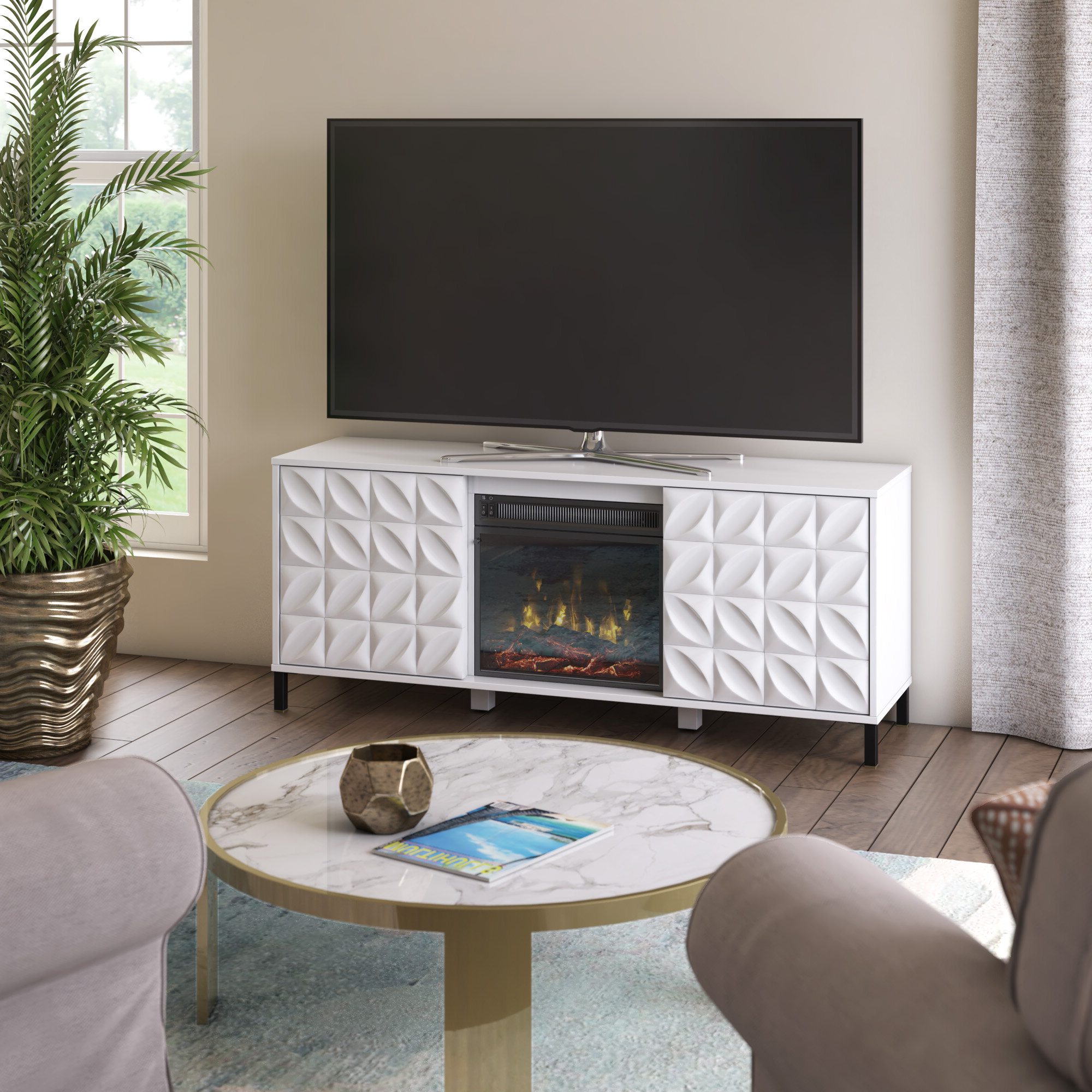 """Mitchellville Tv Stand For Tvs Up To 60"""" With Electric Fireplace Included For Eutropios Tv Stand With Electric Fireplace Included (View 14 of 20)"""