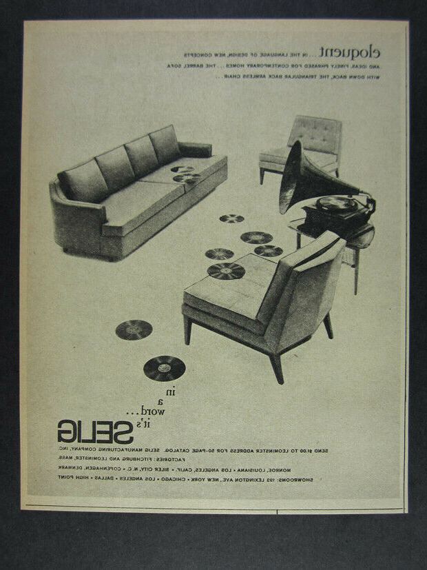 1962 Selig Barrel Sofa & Triangular Back Armless Chair Vintage Print Ad In Ronda Barrel Chairs (View 6 of 20)
