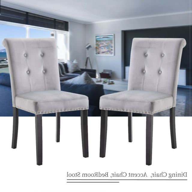 2/4/6 Set Velvet Dining Chair Accent Upholstered Wood Leg Chair Kitchen Formal Pertaining To Carlton Wood Leg Upholstered Dining Chairs (View 13 of 20)
