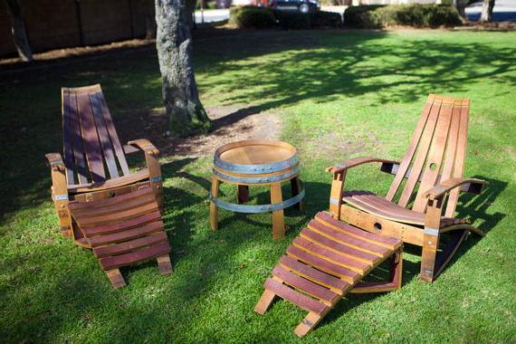 2 Wine Barrel Adirondack Chairs & Side Table Set Plus 2 Ottomans In Ronda Barrel Chairs (View 16 of 20)