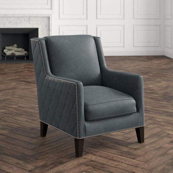 """30"""" W Top Grain Leather Armchair Inside Almada Armchairs (View 15 of 20)"""