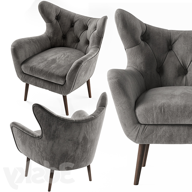 3d Models: Arm Chair – Bouck Wingback Chair In Bouck Wingback Chairs (View 6 of 20)
