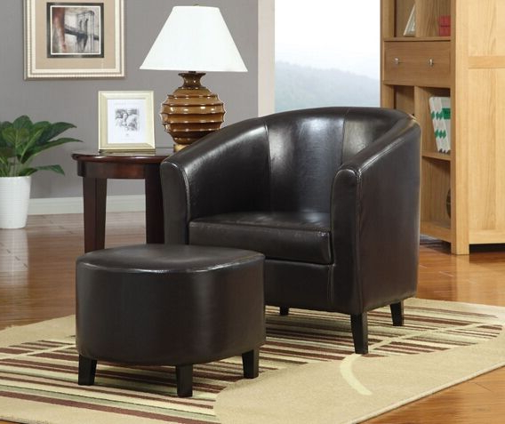 900240 2 Pc Winston Porter Hysell Brown Faux Leather Barrel In Faux Leather Barrel Chair And Ottoman Sets (View 20 of 20)