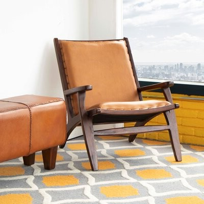 """Aarush 26"""" W Top Grain Leather Lounge Chair Fabric: Tan Genuine Leather Pertaining To Broadus Genuine Leather Suede Side Chairs (View 9 of 20)"""