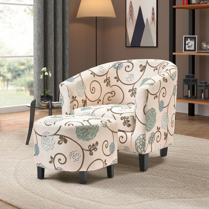 """Abbottsmoor 21"""" Barrel Chair And Ottoman With Abbottsmoor Barrel Chair And Ottoman Sets (View 4 of 20)"""