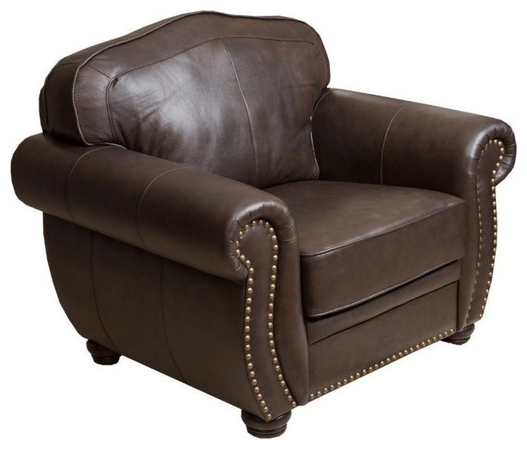 Abbyson Living Palazzo Leather Armchair, Dark Brown Throughout Caldwell Armchairs (View 19 of 20)