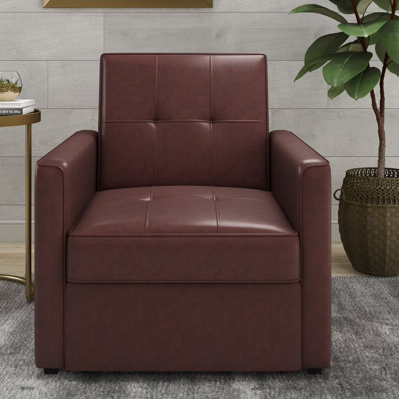 Abdiwali Convertible Chair For Perz Tufted Faux Leather Convertible Chairs (View 13 of 20)