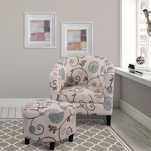 Abrons Barrel Chair With Ottoman With Abbottsmoor Barrel Chair And Ottoman Sets (View 10 of 20)